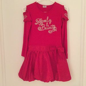 """Red """"Lovely & Beauty"""" Dress for 10-11 years old"""
